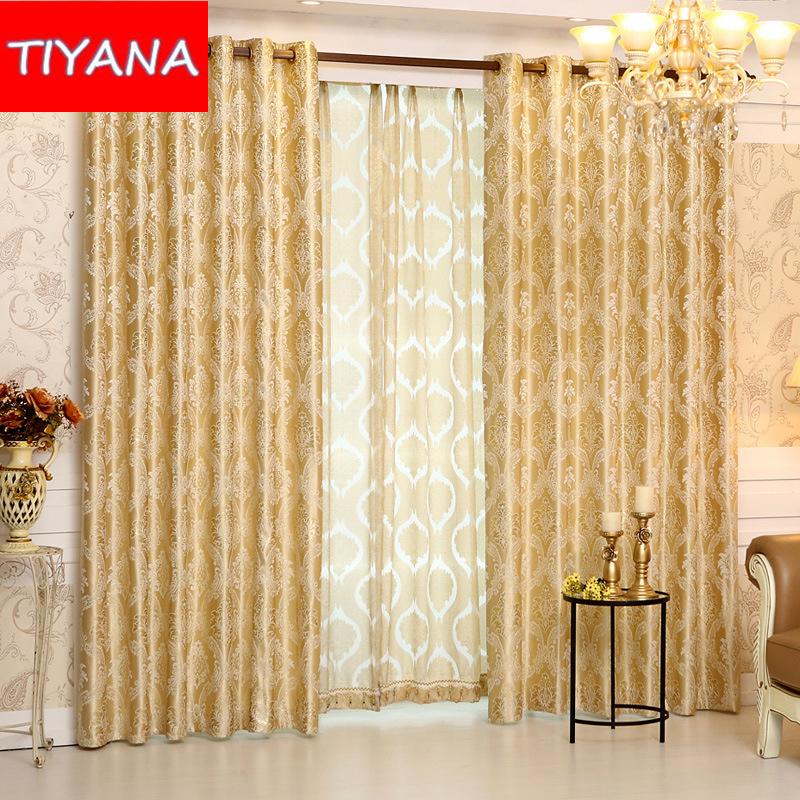 europea de lujo de oro cortinas para el dormitorio jacquard cortina velo de tul de caf