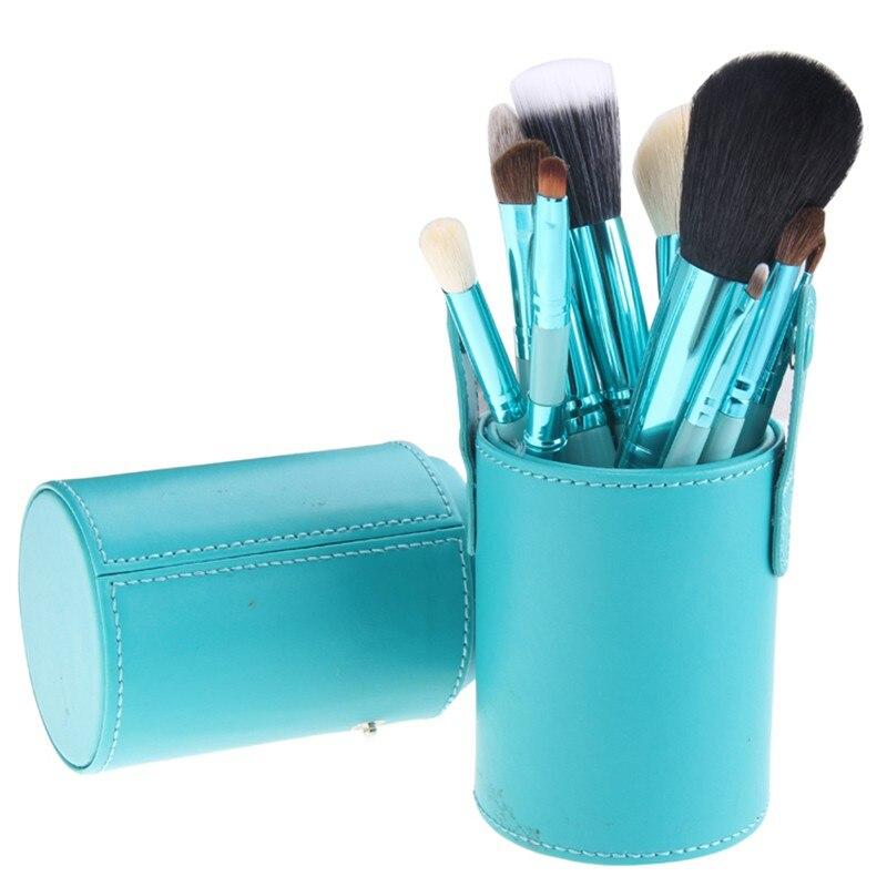 Hot 12 Pcs set Makeup Powder Foundation Eyeshadow Eyeliner Lip Makeup Brushes Container Tube Brushes Set