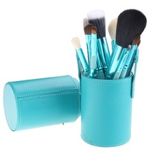 Hot 12 Pcs/set Makeup Powder Foundation Eyeshadow Eyeliner Lip Makeup Brushes Container Tube Brushes Set With Box