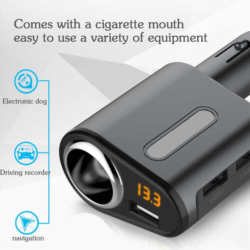 3 USB Port Mobil Charger Adaptor Monitor Tegangan Tiga USB Charger Mobil untuk Iphone Samsung Android Tablet Usb Mobil charger