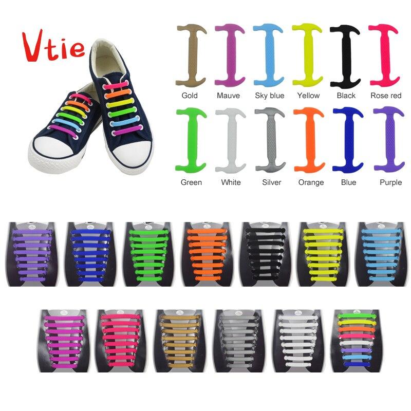 16 Pc/ensemble Nouvelle Unisexe Adulte Athletic Courir Aucun Cravate Lacets Élastique Silicone Lacets Tous Sneakers Fit Bracelet Lacet De Chaussure