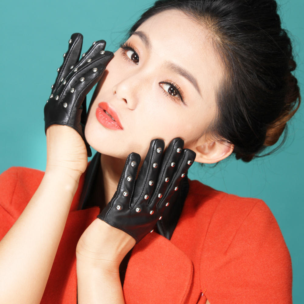 Leather driving gloves from drive - 2015 Summer Autumn Full Women Sex Pole Modal Dancing Half Palm Supple Nappa Leather Driving Gloves Mittens
