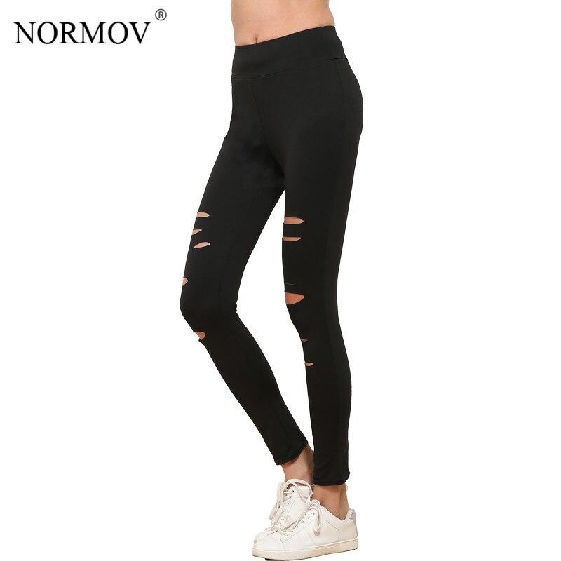7bac854ab6e5e NORMOV S-XL Women Push Up Ripped Leggings Workout Black Leggins Workout  Hollow Out Breathable Slim Leggings Women