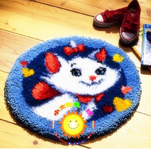 Thanksgiving Day 2017  Flash Deal Free Shipping Hook Rug Kit DIY Mat Needlework Kit Unfinished Crocheting Rug Yarn Cushion Embroidery Carpet Small White Cat