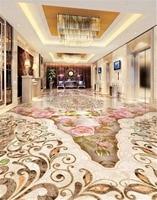 Custom Any Size 3D Wallpaper Stone Pattern Parquet Marble Texture Beautiful Flowers 3D Living Room 3D Floor Tiles Mural Wallpape