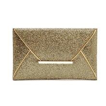 Fashion Solid Women's Clutch bag Metallic Women Envelope Bag Clutch Silver Evening Bag Female Clutches Handbag H16042
