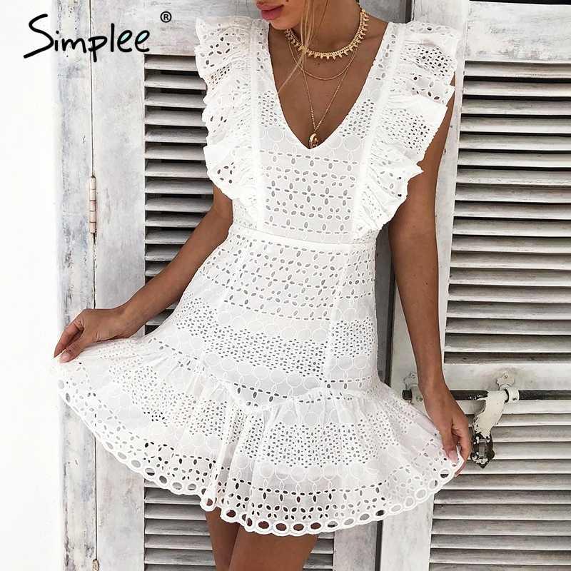 05cbda67747 Simplee Elegant cotton embroidery women summer dress Ruffled high waist  korean white dress Vintage sexy v