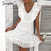 Просто, элегантно хлопок вышивка женская летняя обувь платье трепал высокой талией в Корейском стиле белое платье Винтаж sexy v-образным выре...