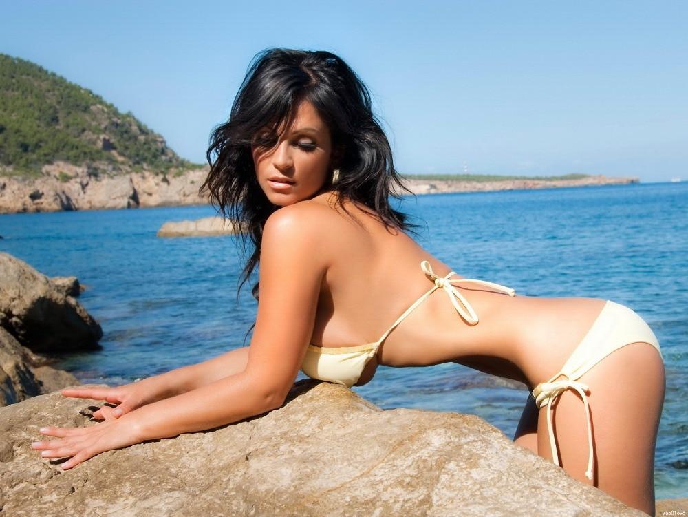 Denise Milani Busty Brunette Boobs Bikini Art Huge Canvas Poster D4078