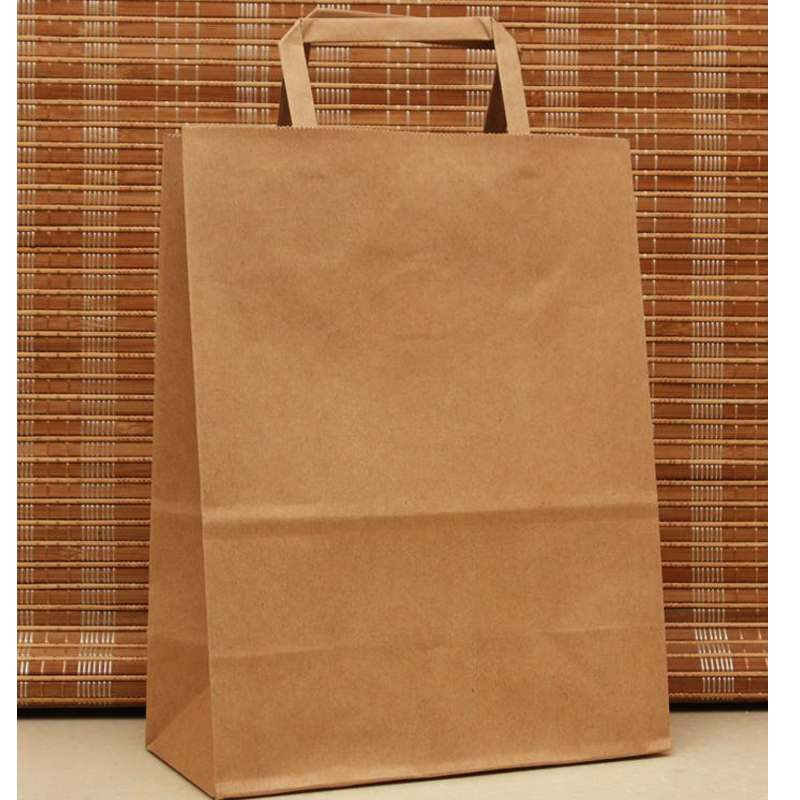 10pcs/lot Brown 27x21x11cm Paper Bags With Handles Clothes Shopping Bags High Quantity Paper Gift Bag With Handle H0196