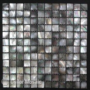 100% blacklipの海シェルナチュラル黒色母の真珠のモザイクタイル用インテリア家の装飾壁タイル1ピース