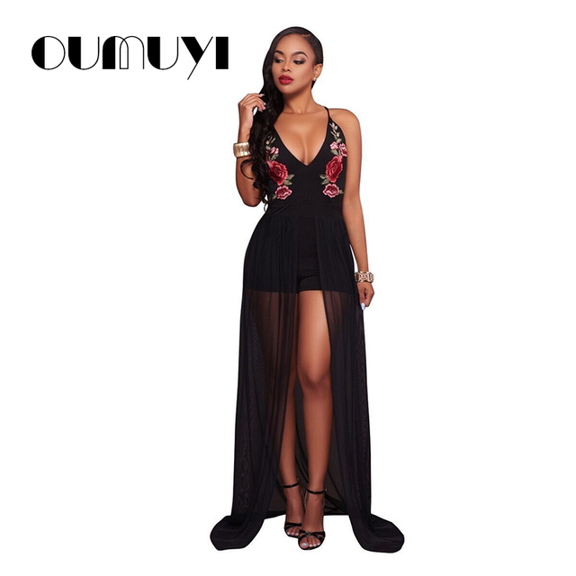 7d858d2061f7 OUMUYI Fashion Sexy Spaghetti Strap Black Floral Embroidery Romper With Maxi  Mesh One Piece Outfits Women Playsuit Overalls