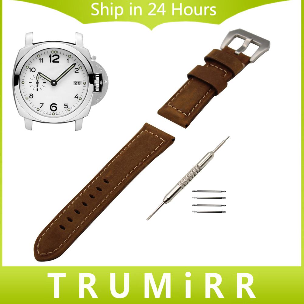 Prix pour Italien Veau Véritable Bande de Montre En Cuir À La Main 22mm 24mm pour Panerai Luminor Radiomir Tang Boucle Bracelet Bracelet Noir brun