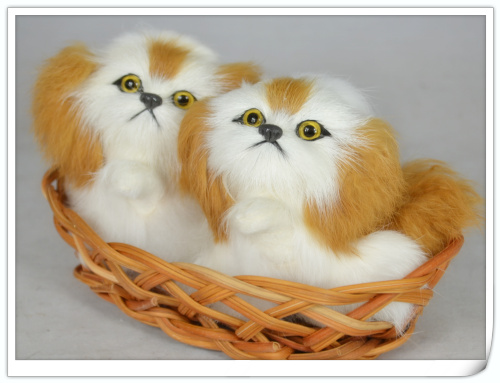 In One Basket handicraft,xmas Gift W5673 Ample Supply And Prompt Delivery Plastic & Furs Toy Simulation Dog 12x10cm Model White Pekingese Dogs With Yellow Ears