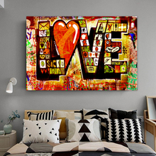 Watercolor Love Graffiti Street Art Mural Banksy Canvas Painting Posters Prints POP Wall Pictures for Living Room Home Decor