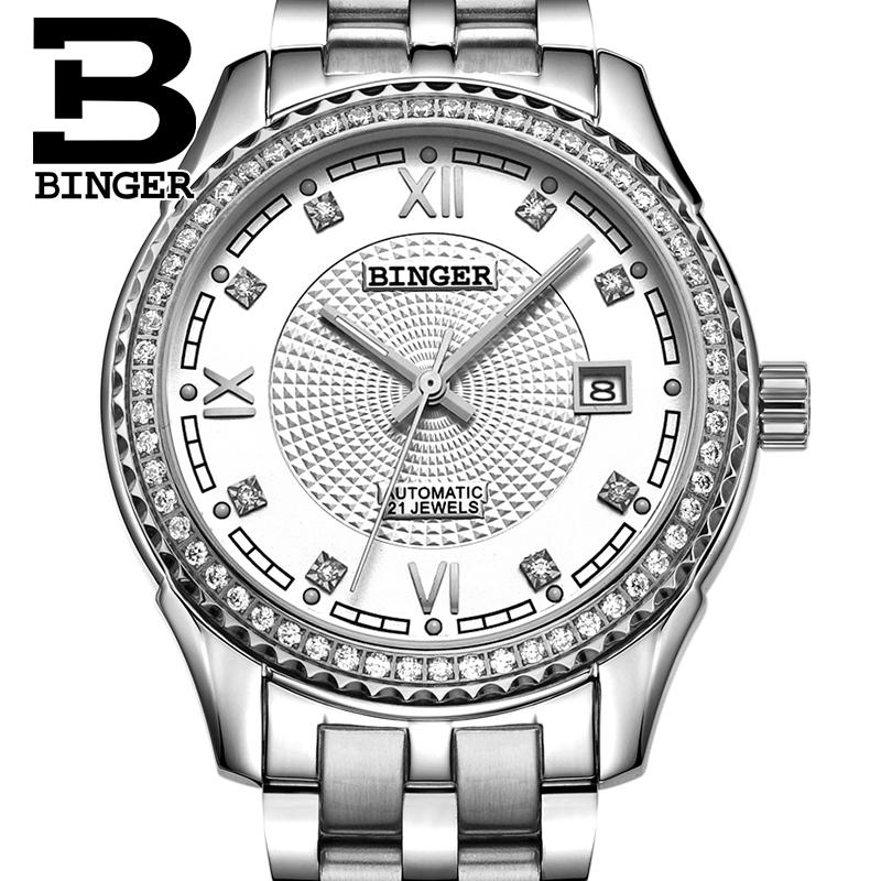 Switzerland men's watch luxury brand Wristwatches BINGER diamond Mechanical Wristwatches full stainless steel Waterproof B1112B