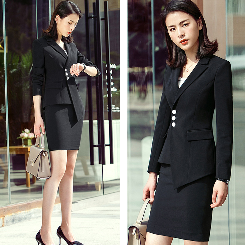 Women Office Uniform Designs Skirt Sets Two Piece Long Sleeve Single Breasted Womens Business Suit with Blazers Plus size 4XL