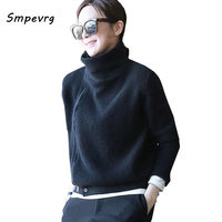 Smpevrg turtleneck lady knitted sweater women cardigan fashion zipper thick warm black cardigan women sweater female knitted top