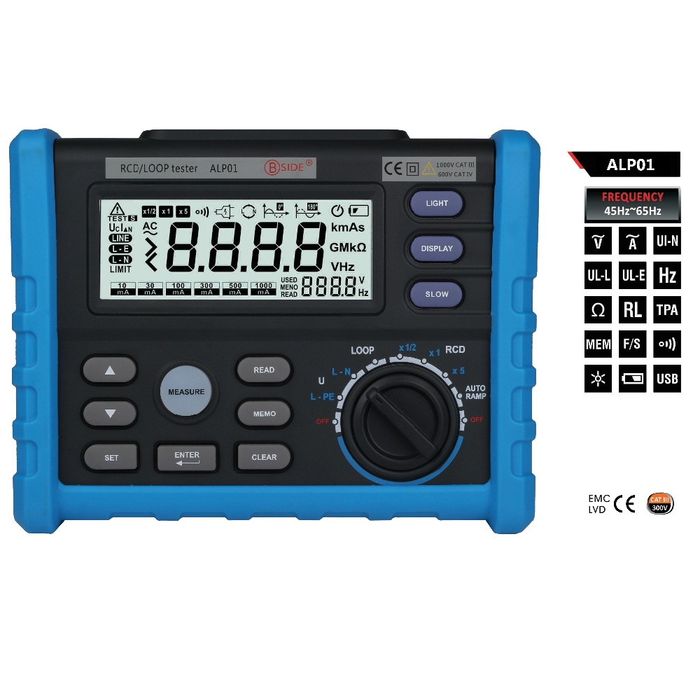 1set Bside ALP01 Professional LOOP/RCD Tester Trip-out Time & Current Voltage Frequency Loop Resistance Measurement with USB