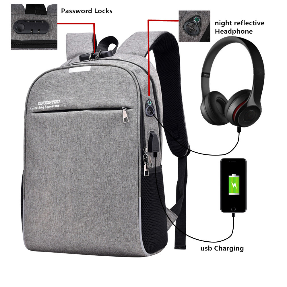 2018 ноутбук рюкзак мужской зарядка через usb пароль Замки Anti Theft рюкзак с штекер на ...