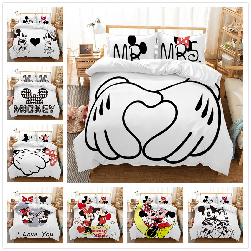Image 2 - Disney Cartoon Mickey Minnie  Bedding Set Lovely Couple Queen King Size Bedding Set Children Duvet Cover Pillow Cases-in Bedding Sets from Home & Garden