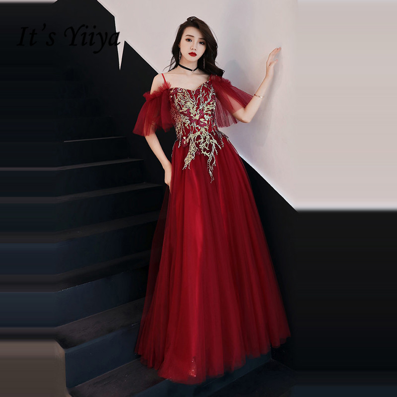 It's YiiYa   Evening     Dress   2018 Wine Red Spaghetti Strap Boat Neck Gold Lace Embroidery A-line Dinner Gowns SB006 robe de soiree
