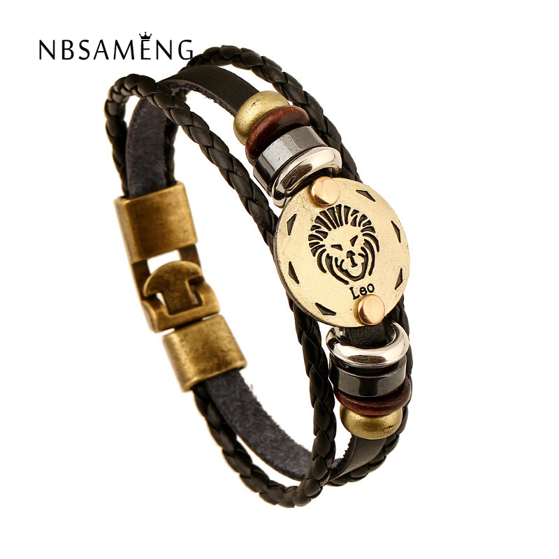 12 Constellation Bracelets 2018 New Fashion Leather Zodiac Handmade Bracelet Men Casual Personality Alloy Vintage Punk Jewelry