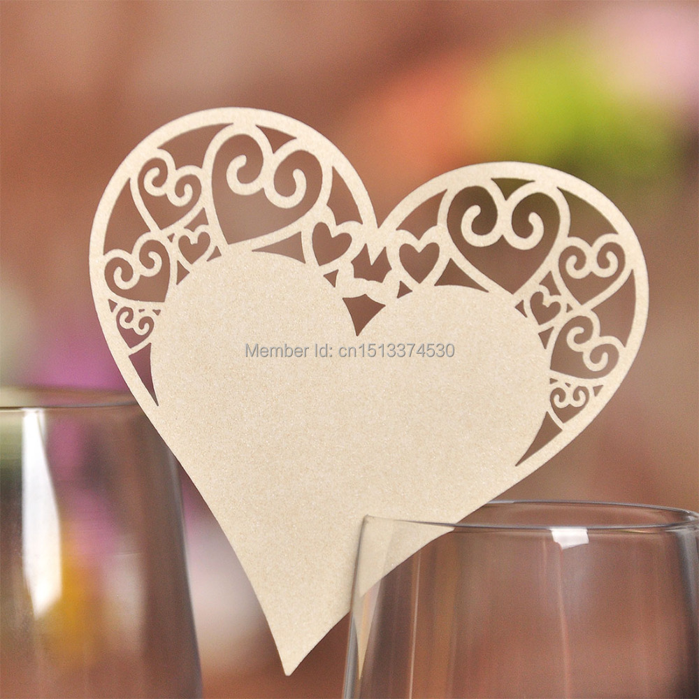 100 pieces Beige Heart Shaped Laser Cut Place Cards Wedding Name ...