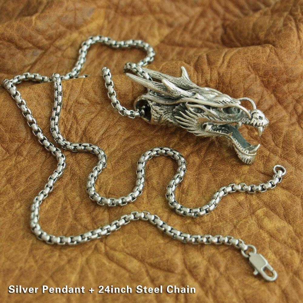 925 argent Sterling haute détails Dragon pendentif hommes Biker Punk pendentif 8J034 en acier inoxydable collier 24 pouces