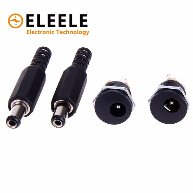 1 pairs 2.1mm x 5.5mm Male Plug + Female Socket Panel Mount Jack DC Connector Adapter 12V/3A PN35