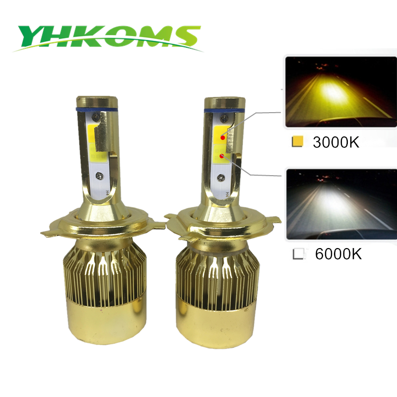 YHKOMS H7 H4 Becuri LED H1 H3 H8 H11 HB3 HB4 Far far LED Kit 3000K 6000K 9600LM Dual Color Car Light LED far 12V