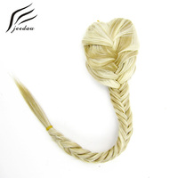 Jeedou Synthetic Hair Ponytails 20 130g Red Brown Drawstring Rope Crochet Braids Chignon Fishtail Ponytail Hair