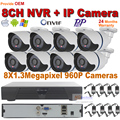 CCTV System  NVR 8CH HD 960P NVR Kit waterproof IP Camera support onvif function with IR Night Vision cctv surveillance system