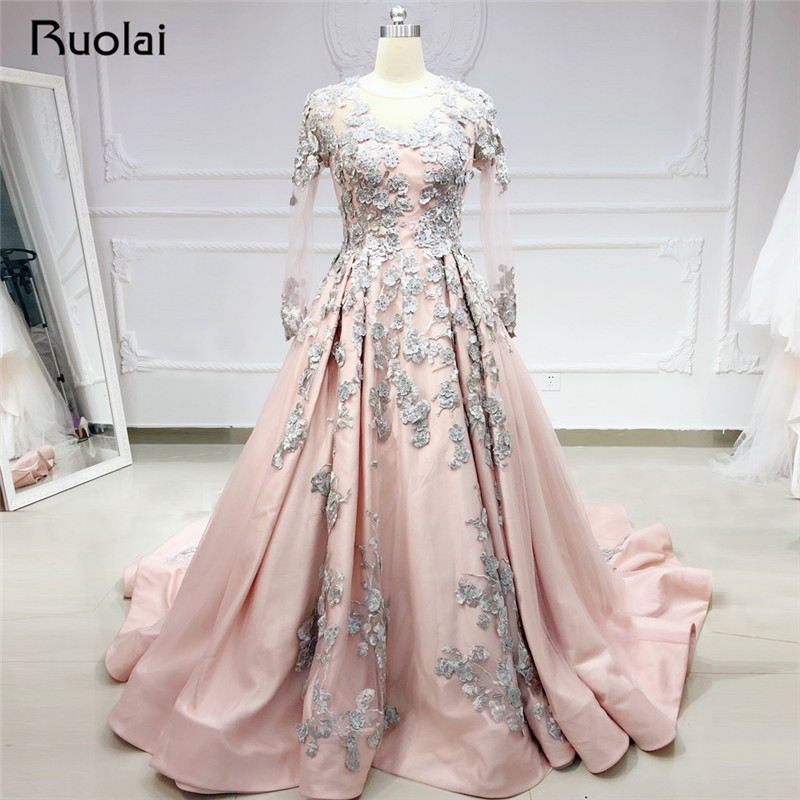 Vintage   Evening     Dresses   Long Sleeve V Neck Princess Ball Gown   Evening   Gown Flower Crystal Prom   Dress   2019 Vestido de Fiesta SN37