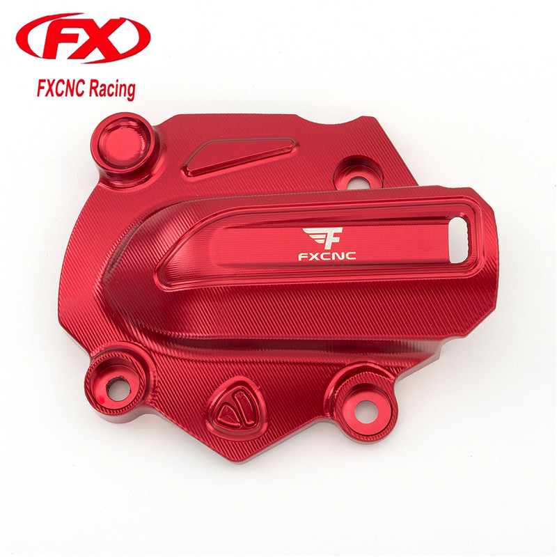 FX CNC Motorcycle Aluminum Water Pump Cover Fit For Monster 821 2014 - 2016 2015 Motorcycle Water Pump Cover Red aluminum alloy engine oil cap fuel tank cover for ducati monster 1200 monster 1200s monster 821 2014 2015 2016 diavel 2011 2016