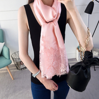 16M M Pure Silk Scarf Women Pink Lady Lace Scarves Large Long Spring Summer Scarves Shawls