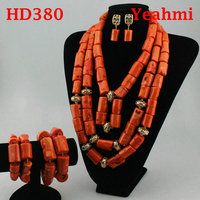 Handmade 3 Layers Real Coral Beads Chunky Women Jewelry Sets Silver Accessory African Bridal Costume Jewelry Set HD380
