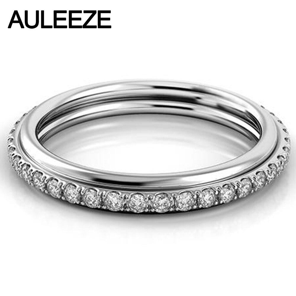 0.29 cttw Réel Diamant De Mariage Bande D'adaptation Solide 14 K Or Blanc Bague de Fiançailles Pour Les Femmes 585 Or De Mariage Éternel Fine Jewelry