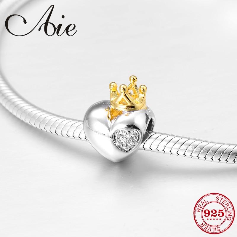 New 925 Sterling Silver Diy Golden Queen Crown Heart Fine