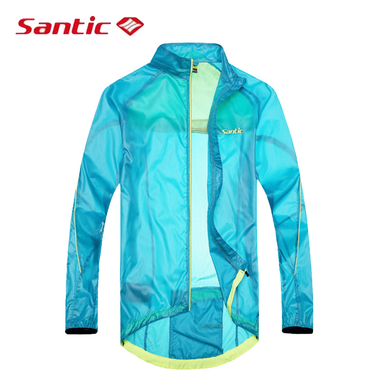 Santic Sky Blue Cycling Raincoat Windproof Long Sleeve Cycling Men Bicycle Jersey Anti-pilling MTB Downhill Bike Jersey SK0031 santic cycling men s downhill ridet shirt long jersey long sleeve white
