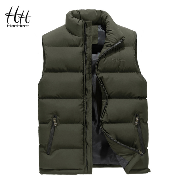 HanHent Fashion Men's Vest Slim Thick Warm Winter Men Outerwear Bodywarmer 2018 Streetwear Sleeveless Jacket Waistcoat Men