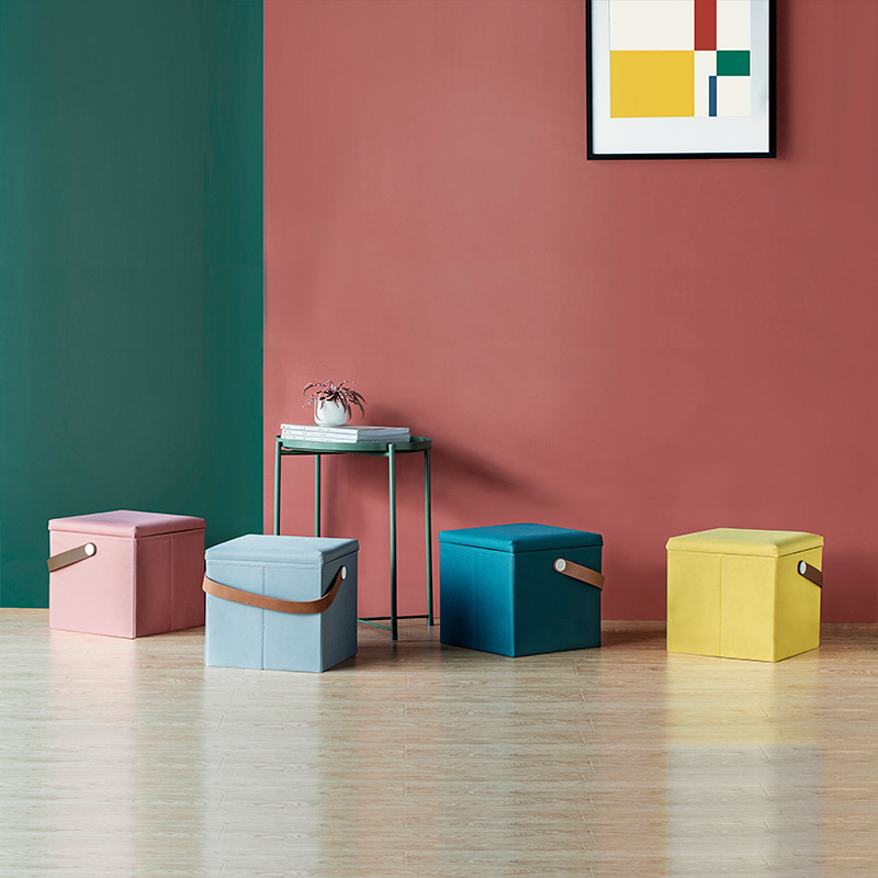 Tabouret de rangement chaises pliantes changement chaussure banc marchepied multifonction carré petit meuble boite de rangement maison Deco
