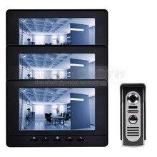 DIYKIT 7inch Digital Screen Video Intercom Video Door Phone IR Night Vision Outdoor Camera Black 1v3