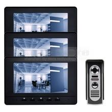 DIYSECUR Pantalla Digital de 7 pulgadas Teléfono Video de La Puerta de Intercomunicación de Vídeo IR Cámara de Visión Nocturna Al Aire Libre Negro 1v3