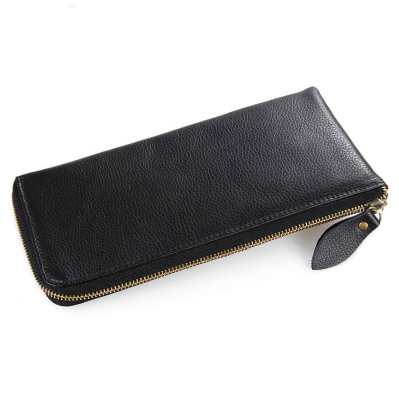 100% Guarantee Genuine Leather Black Long Men Clutch Wallets Cowhide Male Purse Man Hand Take Notecase With Phone Pouch PR088066 2017 new men wallets genuine leather cowhide long removable zipper coin purse vintage male phone clutch bag with whipstitch trim