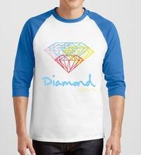 Algodón de tres cuartos de manga raglán del o-cuello camiseta 2017 poleras hombre hombres camisetas impresión divertida de hip-hop diamond brand clothing