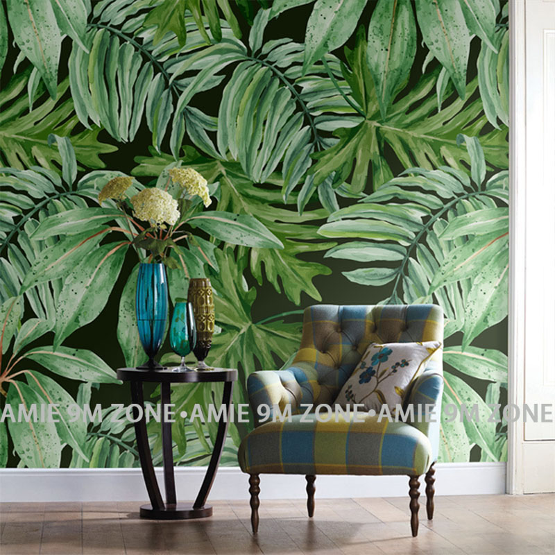 Green palm leaf mural wallpaper for living room office wall background decoration wholesale free shipping discount wallpapers free shipping basketball function restaurant background wall waterproof high quality stereo bedroom living room mural wallpaper
