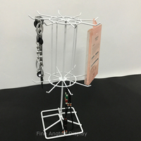 White rotating 2Tier metal stand with adjustable Tiered earring card jewelry charms keychain bracelet necklace display 16 hooks