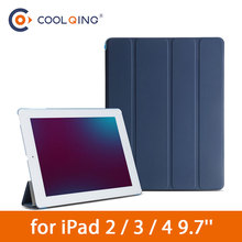 цена Four-folded Tablets Case For iPad 2/3/4 PC+PU Connection Smart Protective Cover Hard Translucent PC Tablet Case For iPad 2 Cases
