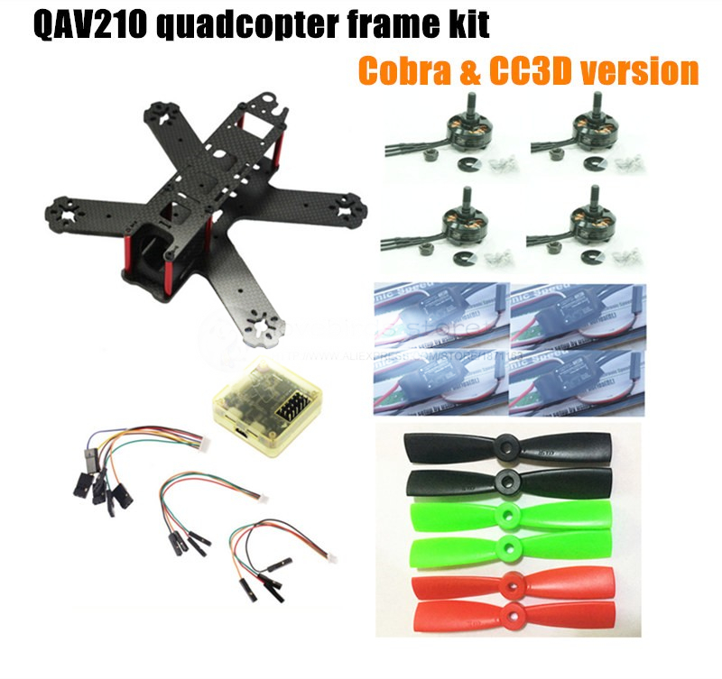 DIY FPV mini drone QAV210 quadcopter frame kit pure carbon frame + cobra 2204 2300KV motor + cobra 12A ESC + CC3D / NAZE32 10DOF carbon fiber frame diy rc plane mini drone fpv 220mm quadcopter for qav r 220 f3 6dof flight controller rs2205 2300kv motor